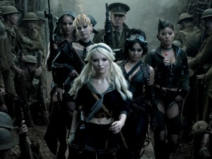 "Emily Browning (front), Jena Malone and Vanessa Hudgens (second row), Abbie Cornish, Scott Glenn, and Jamie Chung (back row) in ""Sucker Punch."""
