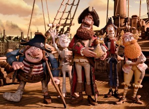 The Pirate Captain and Polly set sail, accompanied by (from left to right) the Pirate with Gout, the Albino Pirate, the Pirate with a Scarf, and the Surprisingly Curvaceous Pirate.