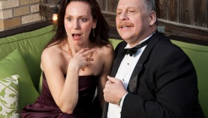 Meg MacCary and Bradley Campbell star as the titular gossips in Amphibian Stage Productions' Mr. & Mrs. Fitch.