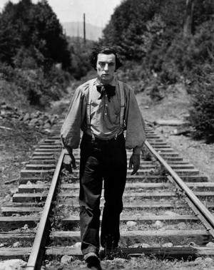 Buster Keaton walks the rails in search of his stolen locomotive in The General, shown at Prairie Fest, Sat.