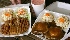 The portions are massive at Foni's, as the Katsu Chicken (left) and Loco Moco indicate. Lee Chastain