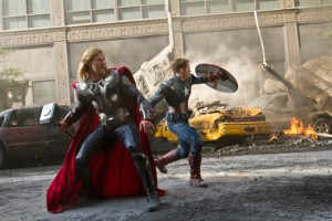 Chris Hemsworth and Chris Evans battle for Earth on New York's streets in The Avengers.
