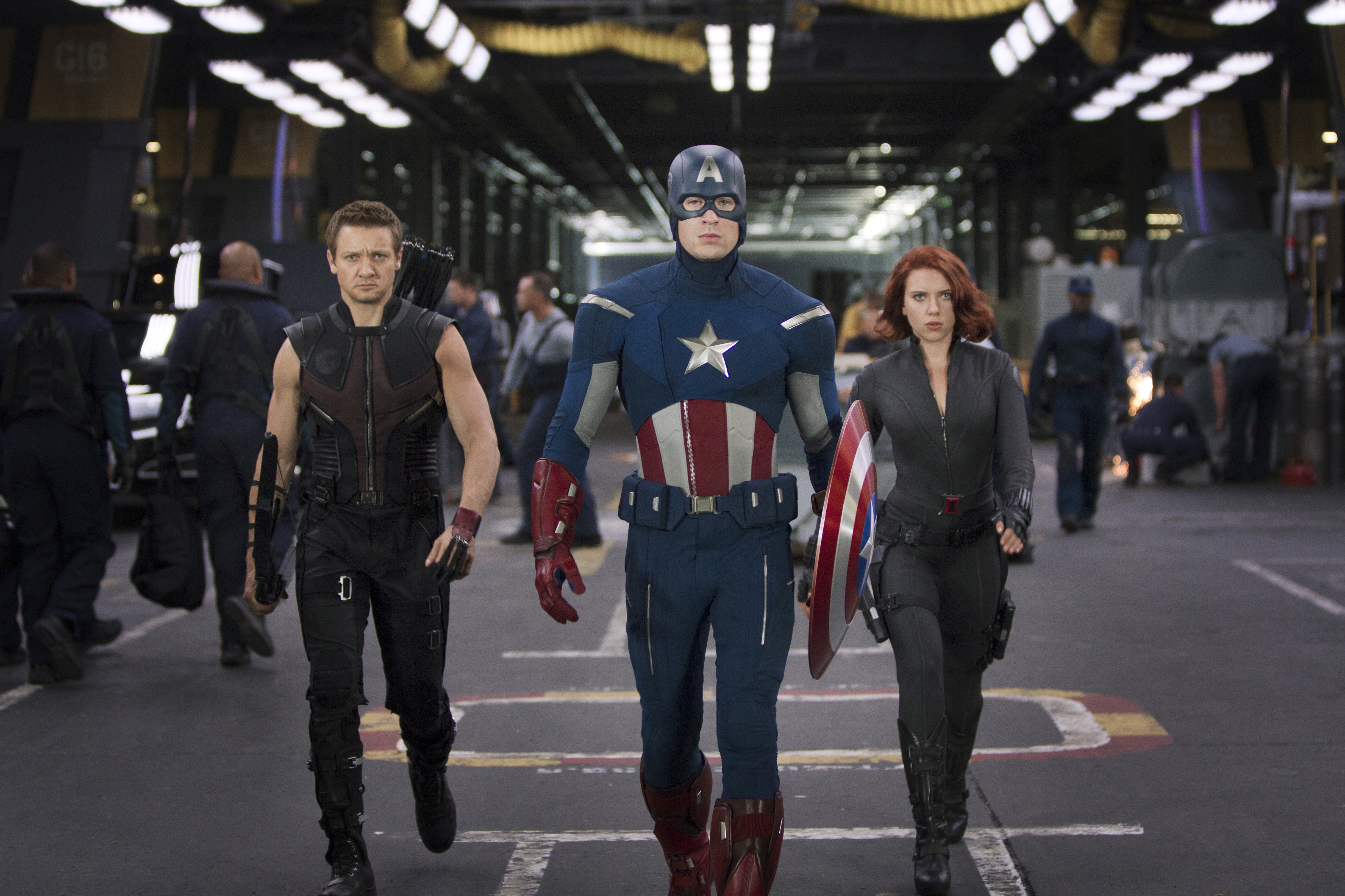 Jeremy Renner, Chris Evans, and Scarlett Johansson in The Avengers.
