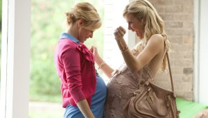 "Elizabeth Banks and Brooklyn Decker bump baby bumps in ""What to Expect When You're Expecting."""