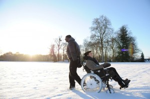 Omar Sy takes François Cluzet out for a snow day in The Intouchables.