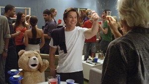 Bear with me: Mark Wahlberg and his best friend prepare to do shots in Ted.