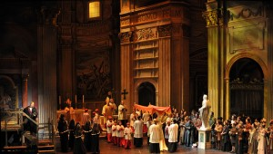 Scarpia (Michael Chioldi) vows to possess Tosca — during church — in Fort Worth Opera's production of the Puccini classic.
