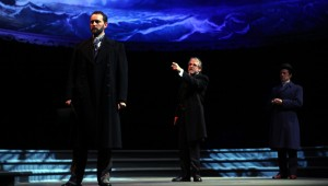 Richard Haratine, Brent Alford, and Chuck Huber star in Trinity Shakespeare Festival's production of The Merchant of Venice.