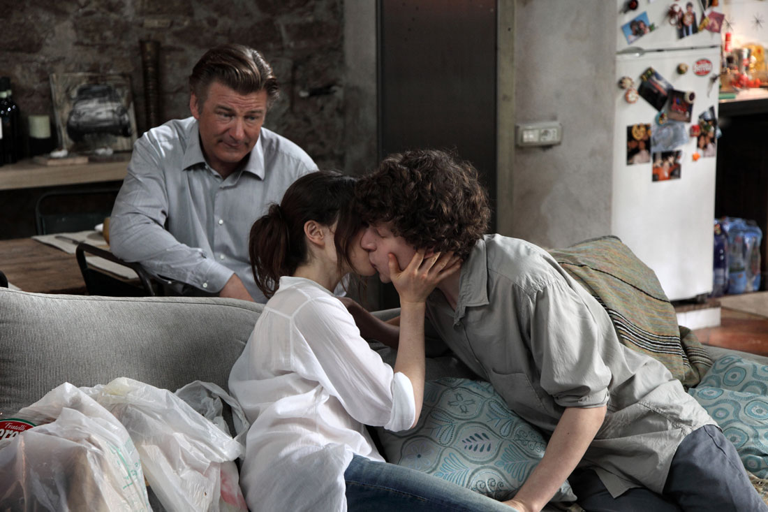 Alec Baldwin looks on (or does he?) as Ellen Page and Jesse Eisenberg make out in To Rome With Love.
