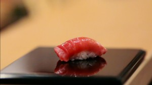 "A piece of chu-toro (medium tuna) nigiri prepared by Jiro Ono in ""Jiro Dreams of Sushi."""