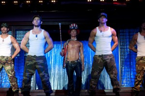 "Happy Fourth of July! Joe Manganiello, Alex Pettyfer, Matthew McConaughey, and Channing Tatum salute our armed forces in ""Magic Mike."""