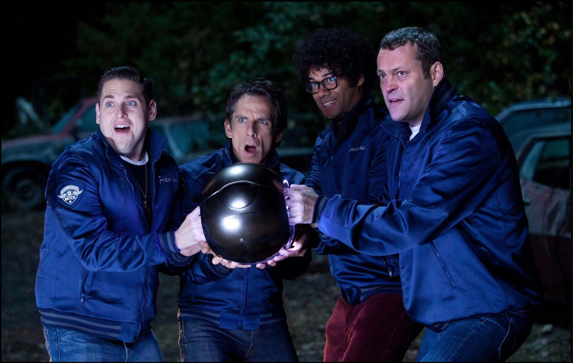 "Ben Stiller, Vince Vaughn, Jonah Hill, and Richard Ayoade star in ""The Watch"" opening Friday."