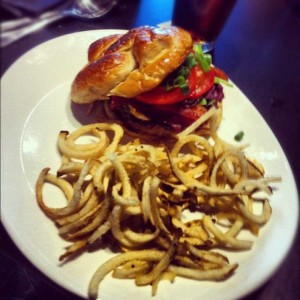 Live Oak Music Hall & Lounge's bacon bleu cheese burger.
