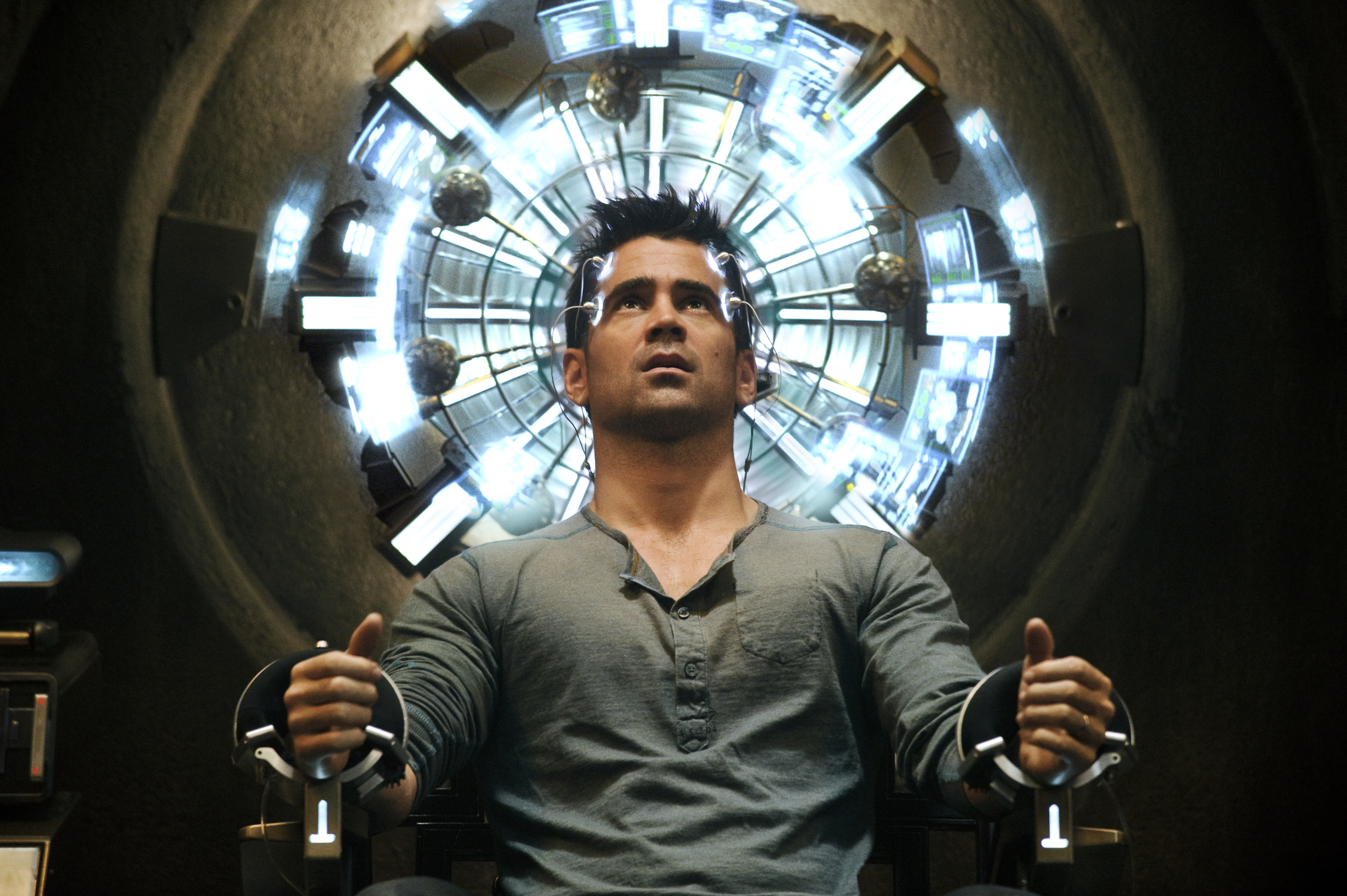 "Colin Farrell gets his mind royally messed with in ""Total Recall."""