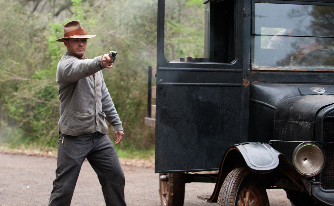 Tom Hardy takes aim in the climactic shootout in Lawless.