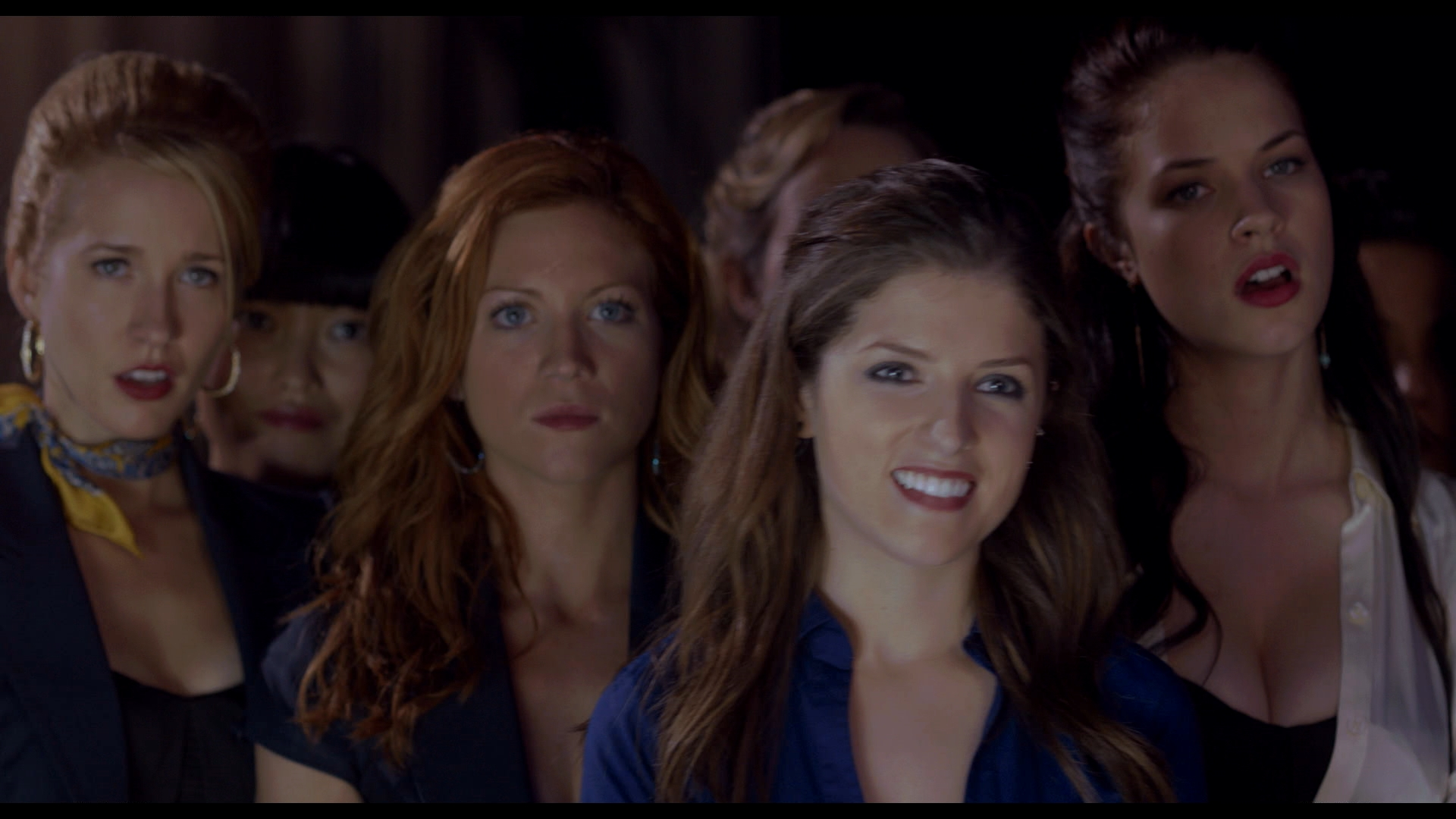 "Hey yo, hey yo, hey yo, hey yo! These girls look good. Anna Camp, Hana Mae Lee, Brittany Snow, Anna Kendrick, and Alexis Knapp in ""Pitch Perfect."""