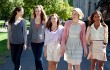 "Analeigh Tipton, Caitlin Fitzgerald, Carrie MacLemore, Greta Gerwig, and Megalyn Echikunwoke are ""Damsels in Distress""."
