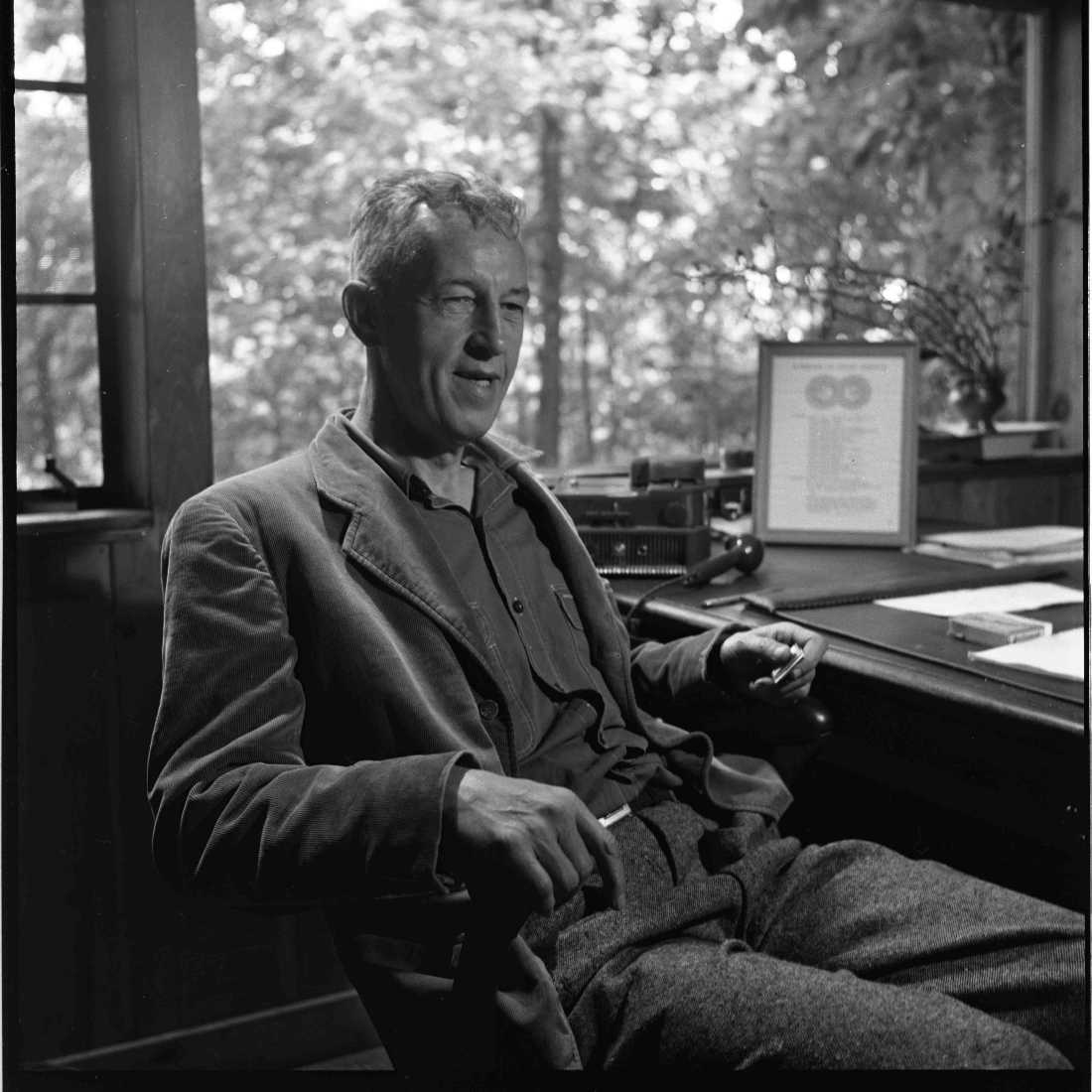"Alcoholics Anonymous founder William Wilson relaxes in his study in ""Bill W."""