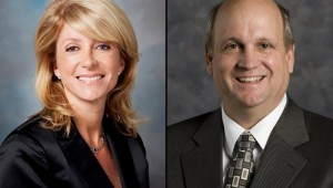 Sen. Wendy Davis (D-Fort Worth) and Rep. Mark Shelton (R-Fort Worth). COURTESY OF TEXAS TRIBUNE