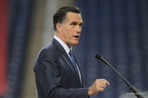 Mitt Romney speaking in Detroit in February. COURTESY OF AUSTEN HUFFORD.