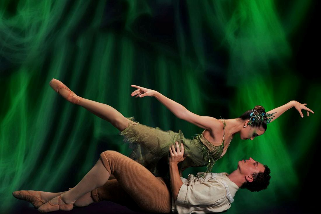 Lucas Priolo and Betsy McBride in TBT's Peer Gynt.