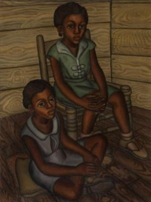"""RUBY LEE AND LOULA MAE WASHINGTON"" BY TEXAS ARTIST KATHLEEN BLACKSHEAR (1932)."