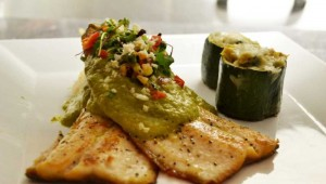 Pan seared trout with avocado-poblano salsa from Hacienda San Miguel. Photo courtesy Facebook