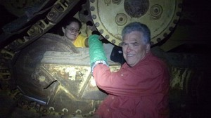 Doug Grant and R.C. Saldaña-Flores locked themselves to a TransCanada machine near Winnsboro. Courtesy Tar Sands Blockade