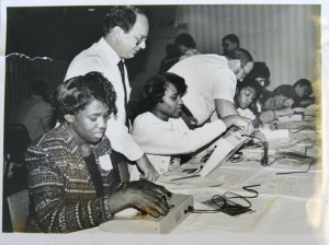 A vintage photo shows Trimble Tech students demonstrating circuit board techniques. Courtesy FWISD Archives Center