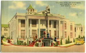 The Slaughters ordered up souvenir postcards when the hotel was new.  On the back, readers learned that the rooms were supplied with artesian water. Courtesy Juliet George