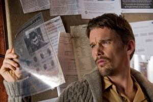 Ethan Hawke! Ethan Hawke! Playing a true-crime novelist in a haunted house leaves little time for flicking on lightswitches.