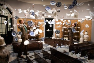 James D'Arcy and Ben Whishaw amid a shower of crockery in Cloud Atlas.