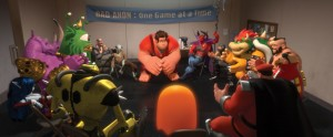 This is my idea of fun, playing video games. Wreck-It Ralph (center) pours out his troubles to his fellow video-game villains.