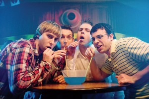 Four socially inept teenagers who go for a vacation in the Greek islands in The Inbetweeners now playing in Dallas..