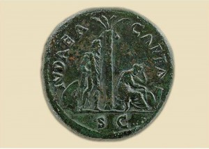 The exhibit is contextualized by rare works of antiquity, including incredibly technologically advanced engraved coins like this one from the first century A.D.