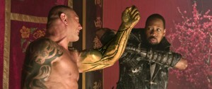 "Dave Bautista and RZA tangle near the end of ""The Man With the Iron Fists."""
