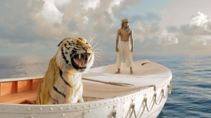 "A Bengal tiger and Suraj Sharma must share a boat to survive in ""Life of Pi."""