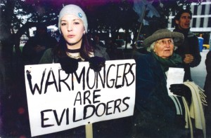 Brink (right) marches with granddaughter Staci Yarbrough in Dallas in 2002.