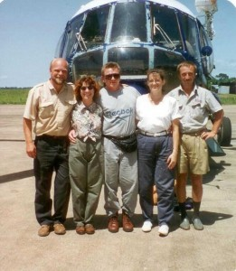 In the summer of 1996, Cardenas (second from left) helped with the evacuation of the American embassy staff from Sierra Leone, getting evacuees transferred from helicopters to planes for the flight home. Courtesy Debra Cardenas
