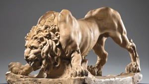 A lion molded by Gian Lorenzo Bernini at the Kimbell.