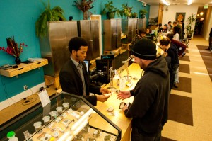 Harborside Health Center in Oakland, Calif., dispenses medical marijuana to customers. Courtesy Steve DeAngelo