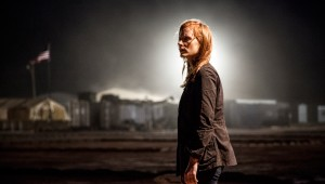 Jessica Chastain awaits confirmation of bin Laden's death in Zero Dark Thirty.
