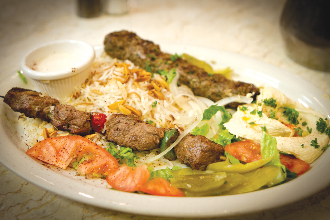 Kebabs like the Kafta (grilled lamb and beef) dominate Saffron Sky's menu. Tony Robles