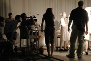Mosley directs the cast of his short, Little Boy. Courtesy Frank Mosley