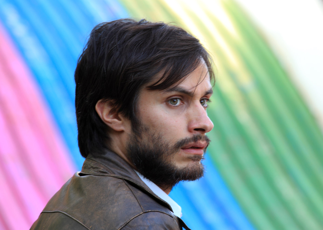 Gael García Bernal poses in front of his ad campaign's rainbow flag in No.
