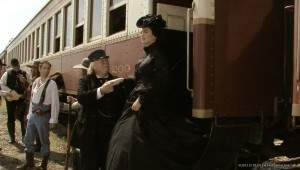 "Nicole Leigh Jones steps off a train in this Grapevine-filmed scene in ""Shroud."""