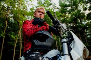 Ryan Gosling prepares to rob a bank on his motorcycle in The Place Beyond the Pines.