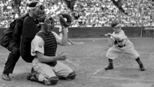 EDDIE GAEDEL AT BAT (Associated Press photo from Wikipedia public site)