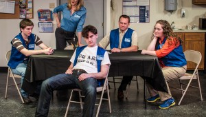 (From left to right) Michael McMillan, Morgan McClure, Montgomery Sutton, Chip Wood, and Jenny King star in Circle Theatre's current production.