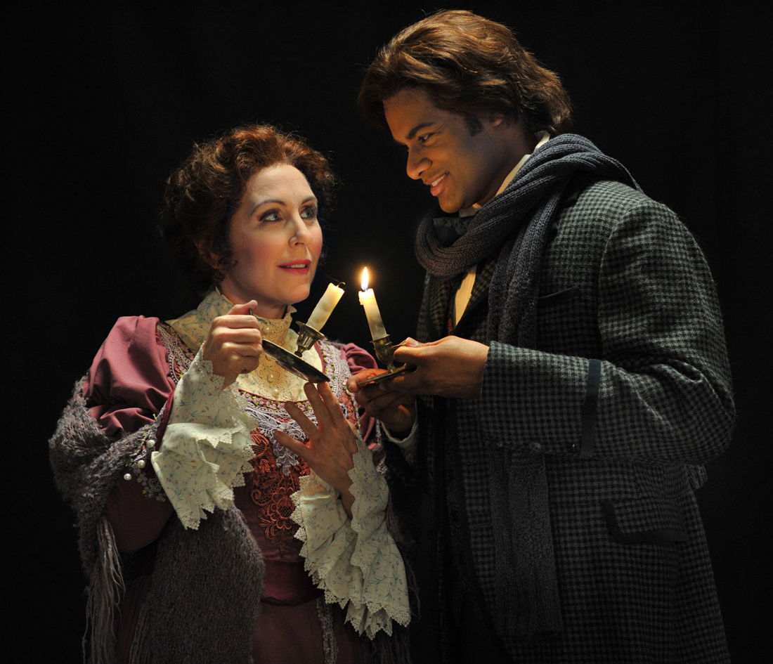 Mary Dunleavy and Sean Panikkar bask in love's warm glow in Fort Worth Opera's production of La Bohème.